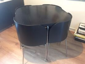 Black Ikea 4 Seater Compact Dining Table + Chairs