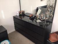 Black & gold bedroom furniture