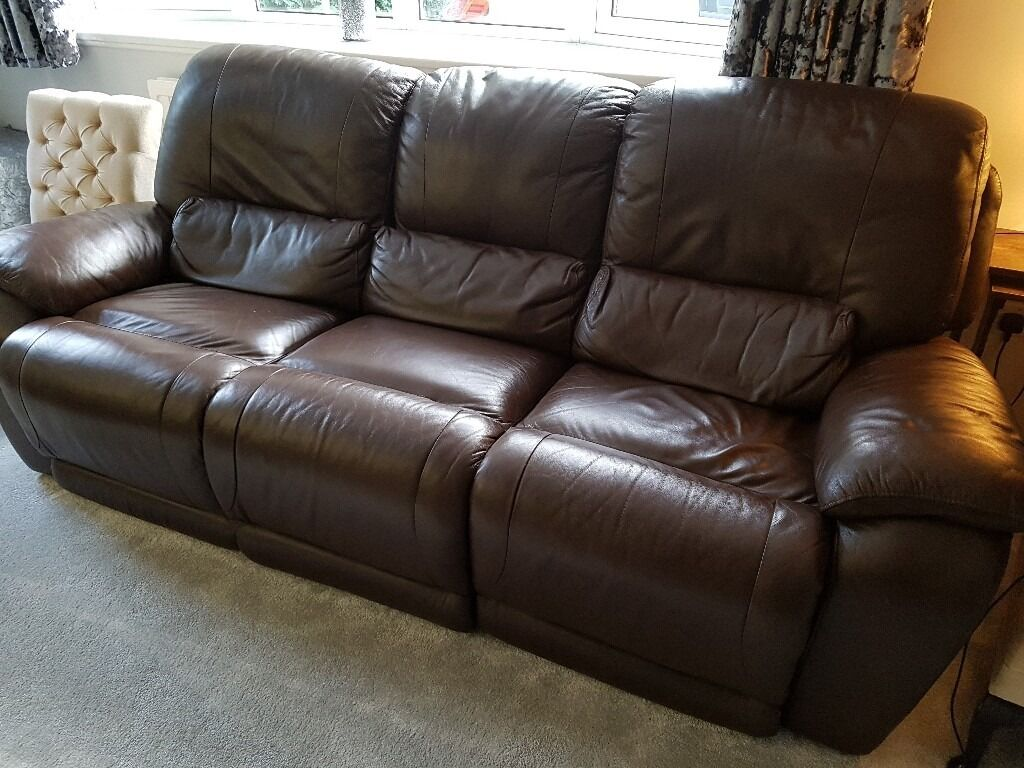 Brown Leather 2 Seater and 3 Seater Recliner Sofasin Bedford, BedfordshireGumtree - 1 x 3 seater and 1 x 2 seater brown leather sofas. Manual recliners on both sofas, good condition, comes from a smoke and pet free home