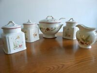 "Royal Winton - ""Lark Rise"" design Punch Bowl/Soup Tureen, Milk Jug and 3 Storage Jars"