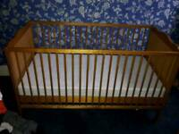 Sapling cot bed with mattress. Baby to toddler