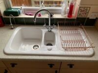 Ceramic White sink 1.5 bowl with draining board