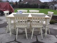 Shabby Chic Solid Pine Farmhouse Oblong Table and 6 Chairs In Farrow & Ball Cream No 67