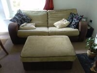 Beige and brown sofa with foot stool