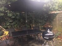 Fantastic outdoor furniture/BBQ set!! (table, 6 chairs, Weber BBQ set w/utensils)