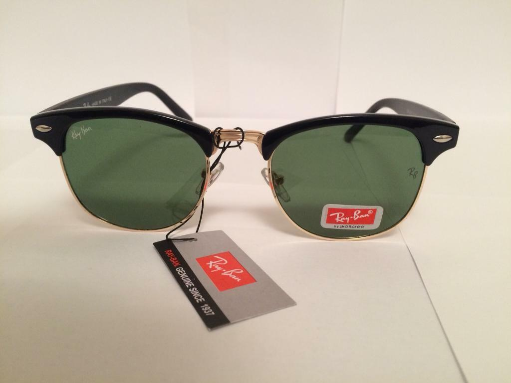 RayBan Clubmaster Sunglasses RB3016 (gloss black dark green lens ... a995d4ab6