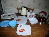 MELAMINE TABLEWARE + KETTLE + UNUSED WHISTLING KETTLE