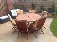 Danish Scancraft Design Circular Garden Table, 6 Chairs & Cushions - Excellent Condition