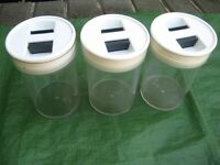 Three Plastic Food Storage Jars with Lift-Out Airtight Lids