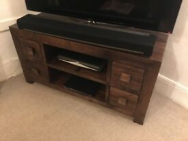 Solid mango wood tv stand