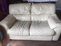 Cream Leather 2 seater sofa dfs