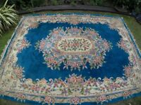 Vintage hand-made 100% wool blue and pink Aubusson rose Chinese Rug - LARGE 3.8m x 2.8m