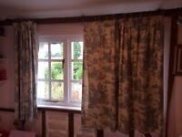 Toile de jouy blue curtains - second hand