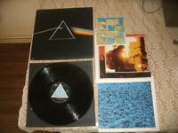 Pink Floyd Dark Side Of The Moon LP UK 1st Press 1973 Solid Blue Triangle With Posters & Stickers