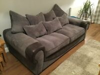 Grey 3 Seater Scatter Back Sofa