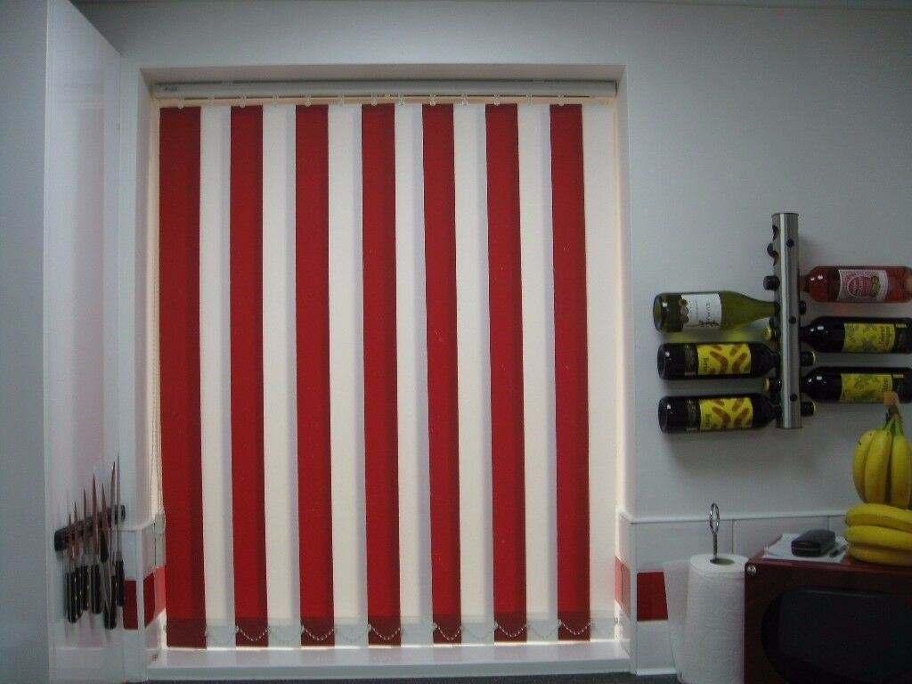 Vertical blinds centre opening red and white machine washable.