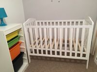White mothercare cot and mattress