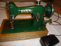 Green Vintage PAX Electric Sewing Machine (4 layers of leather sewn Sample)