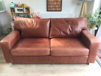 Sofa Workshop Tan Leather 3 Seater Sofas (x2)