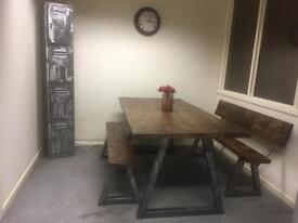 Industrial Rustic Dining Table & Bench Set / raw steel & farmhouse timber top