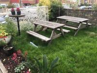 Pub garden picnic benches. Wooden. 2 LEFT