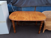 EXTENDABLE PINE DINING TABLE AND 6 CHAIRS IN YEOVIL
