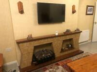 Freestanding Fire Place with Electric Fire