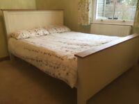 Cream painted Double Bed frame and mattress