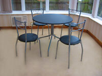 SILVER & BLACK DINING TABLE & 4 CHAIRS (CAN DELIVER)