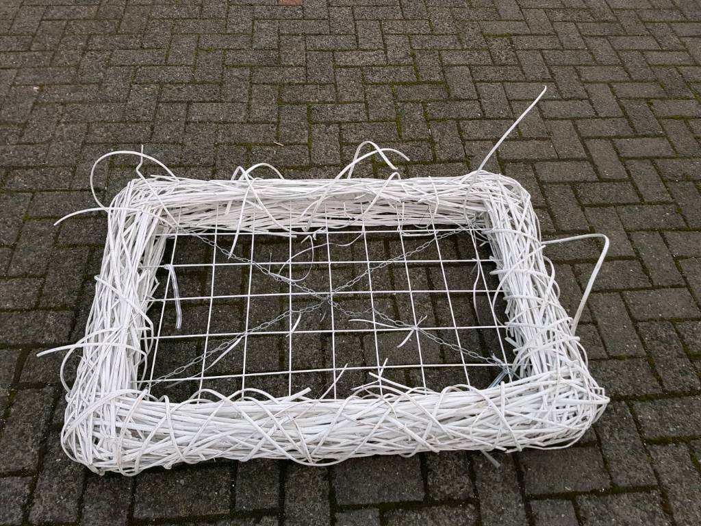 Extra large white wicker caged hanging display