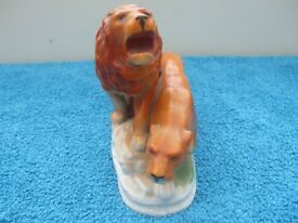 Rare Unusual Old Staffordshire Lion and Lioness Figure.