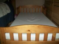 TODDLER PINE WOODEN BED WITH MATTRESS