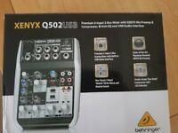 Behringer XENYX Q502 USB 5 input 2BUS Mixer with Mic Preamp & Condensor British EQ/USB Interface