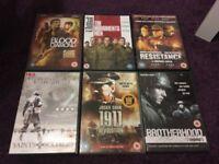 war movies dvds,50p each
