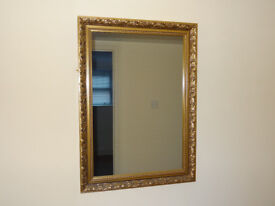 "Gold Guilt Mirror Size Large: Width 24"" x Height 33"" x Depth 1.5"" from 1970's"
