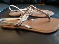 Gold new look sandals size 5