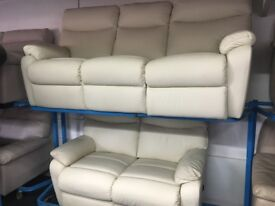 New/Ex Display LazyBoy High Grade Leather 3 + 2 Seater Recliner Sofas