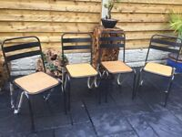 Set Of Four Metal & Oak Dining Chairs, New / Unused
