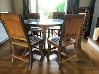 Teak Dining table & 6 Chairs, Side board, Mirror & Wine Rack