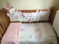 Mothercare cot bed with Babies R Us bedding