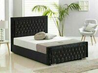 🔵💖GREAT OFFER🔵🔴DOUBLE SIZE PLUSH VELVET HEAVEN BED FRAME w OPTIONAL MATTRESS-.