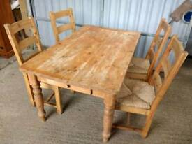 Large Farmhouse Dining table and 4 chairs