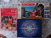 TRIO OF BOARD GAMES-HANGMAN/MILLIONAIRE/SORRY-VINTAGE