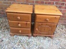 Pair of solid pine bedside tables.