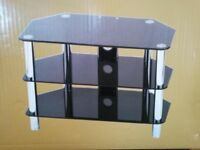 TV stand - contemporary style, black glass and chrome