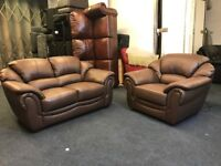 LITTLEWOODS VERY NAPOLI BROWN LEATHER 2 SEATER SOFA AND PAIR OF MATCHING ARMCHAIRS THREE PIECE SUITE