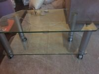 Stylish OPTIMUM mobile TV stand - glass and chrome