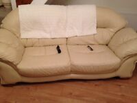 2seater and 3seater leather sofas cream