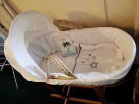 MOSES BASKET AND STAND AS NEW