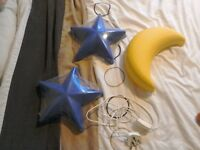 CHILDREN YELLOW MOON AND BLUE STARS BEDROOM WALL LIGHTS